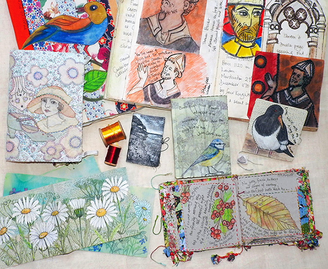 A selection of sketchbooks, work in progress and some finished books (click to enlarge)