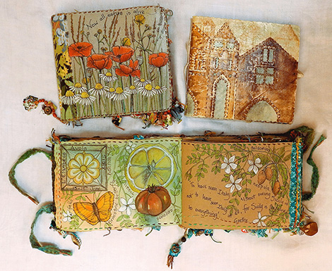 Nature and travel, paper and fabric journals (click to enlarge)