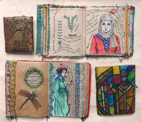Books inspired by the Mediaeval period, paper and fabric (click to enlarge)